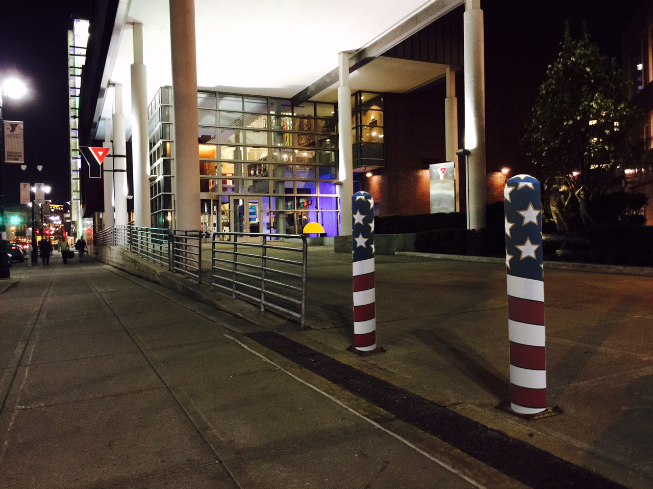 Ideal Shield's American Flag Fabric Bollard Covers at the YMCA