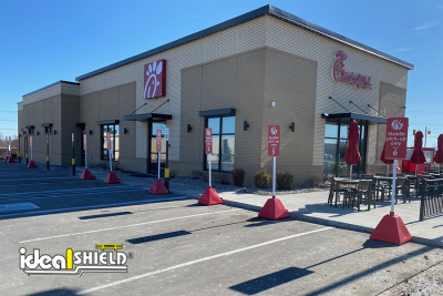 Ideal Shield's Pyramid Sign Bases for Chick Fil A's Curbside Pickup