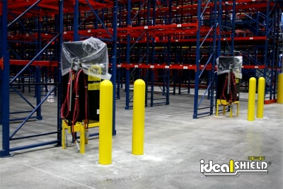 "Ideal Shield's 1/4"" Bollard Covers used to protect Electrical Equipment around pallet racks"