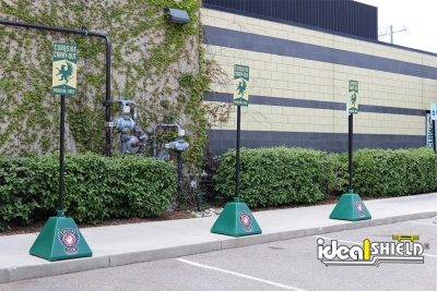 Ideal Shield's Green Pyramid Sign Bases with custom decals at Griffin Claw Brewery