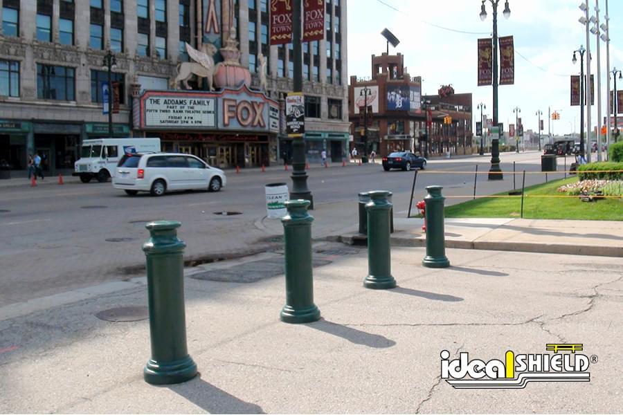 Ideal Shield's green plastic Pawn Decorative Bollard Cover at Comerica Park in Detroit, Michigan