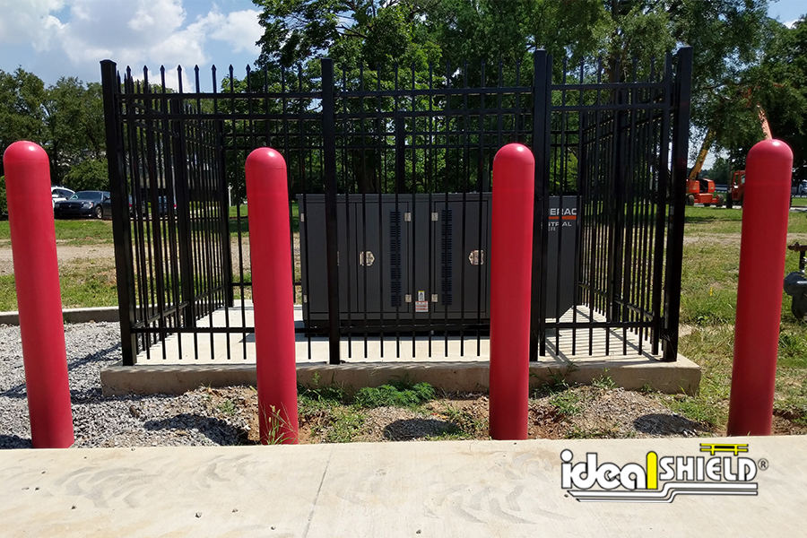 """Ideal Shield's red 1/8"""" Bollard Covers"""