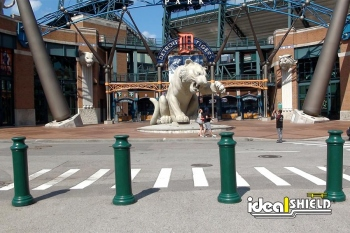 Ideal Shield's green plastic Pawn Decorative Bollard Cover at Comerica Park in Detroit, Michigan