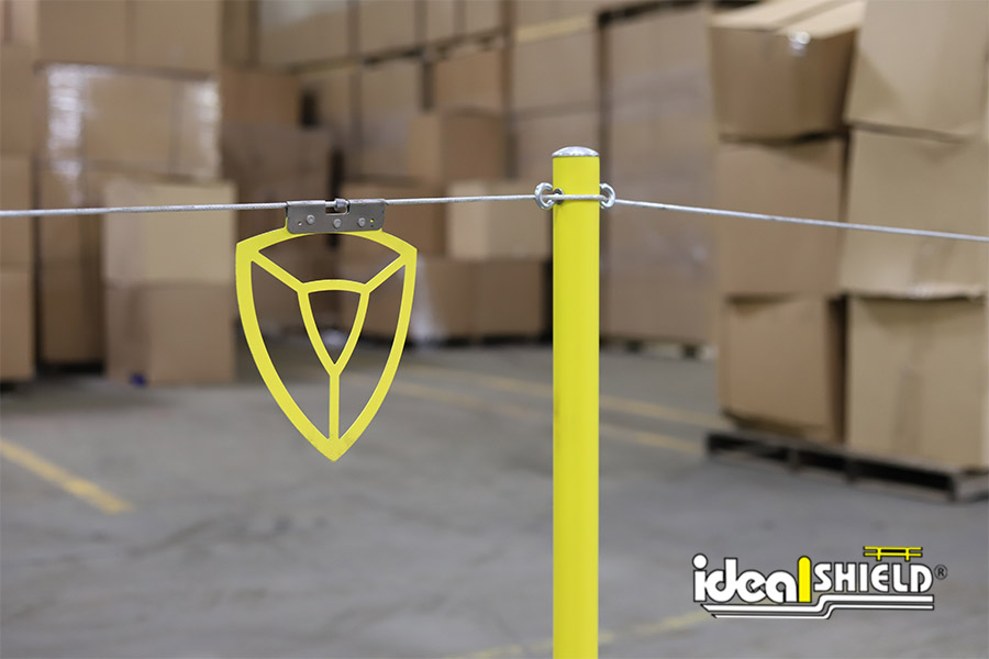 Ideal Shield's Warning Line System with hanging aluminum plate flags