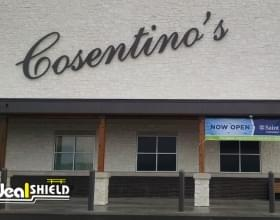 Ideal Shield's Urban Bronze Bollard Covers used for storefront protection at Cosentino's