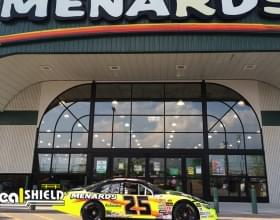"Ideal Shield's 1/4"" Bollard Covers at Menard's with the store's race car"