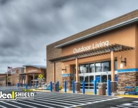 Ideal Shield's Accessible Blue plastic Bollard Covers used for storefront protection at Walmart