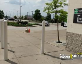 Ideal Shield's white Bollard Covers at Enterprise