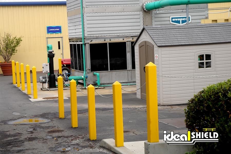 Line of Ideal Shield's yellow Square Bollard Covers