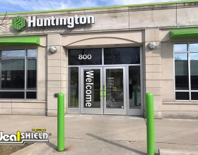 "Ideal Shield's 1/4"" Bollard Covers at Huntington Bank"