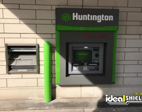"Ideal Shield's 1/4"" Bollard Covers guarding an ATM at Huntington Bank"