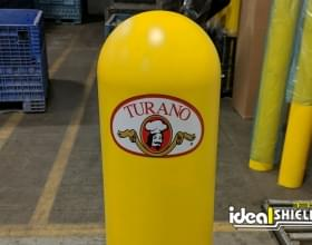 Ideal Shield's custom decal Bollard Covers for Turano