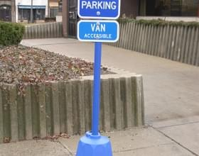 Blue Octagon Sign Stand