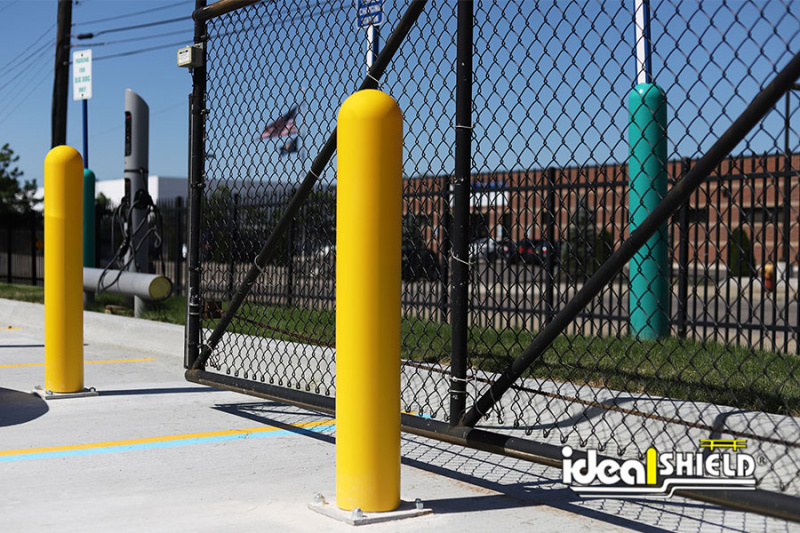 Ideal Shield's Base Plate Bollards protecting an entrance fence