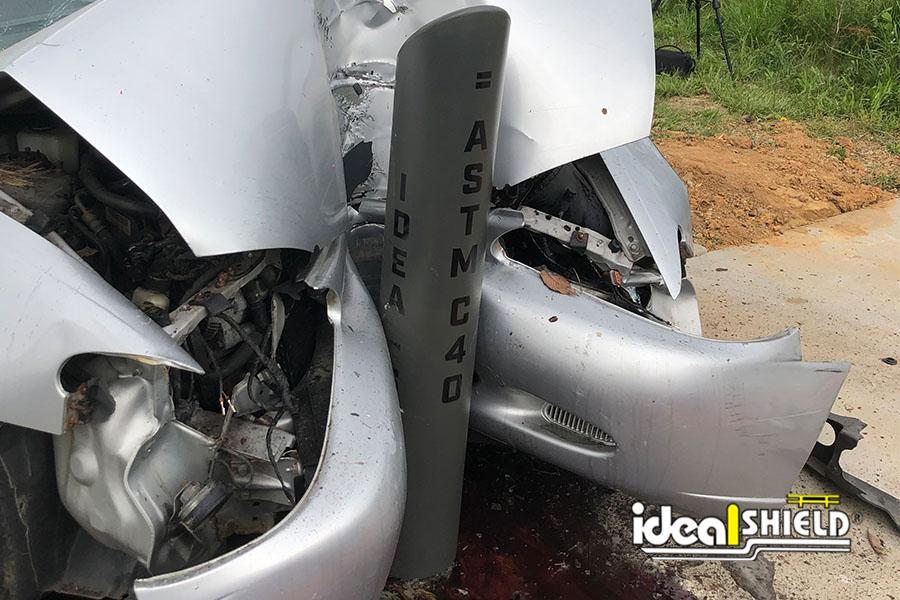 Ideal Shield's C40 Impact Bollard after crash test