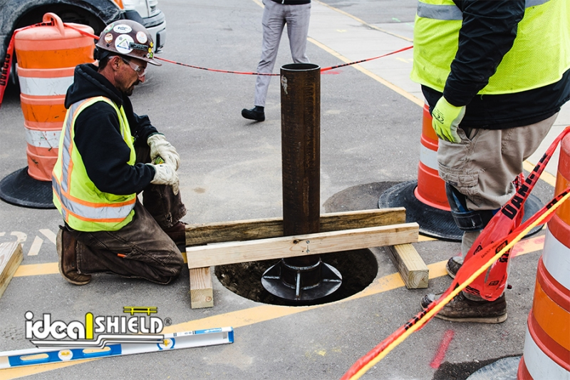 Installation process of the C40 Traffic Impact Bollards; securing bollard for concrete pour