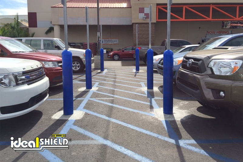 Ideal Shield's Blue Bollard Sign Systems used for designated parking at Home Depot