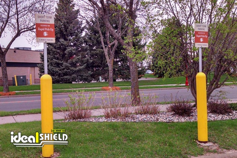 Ideal Shield's Yellow Curbside Pickup Bollard Sign Systems