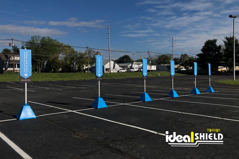 Ideal Shield's 285 Blue Sign Bases for designated parking