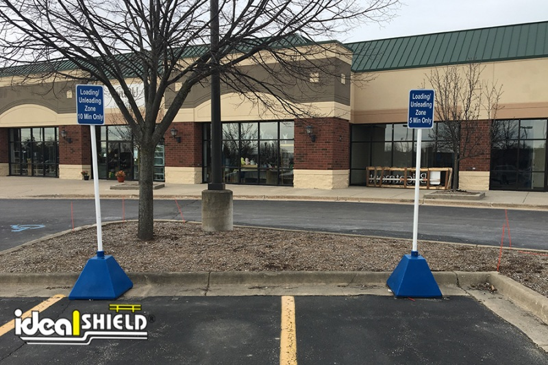 Ideal Shield's Blue Curbside Designated Parking Sign Bases