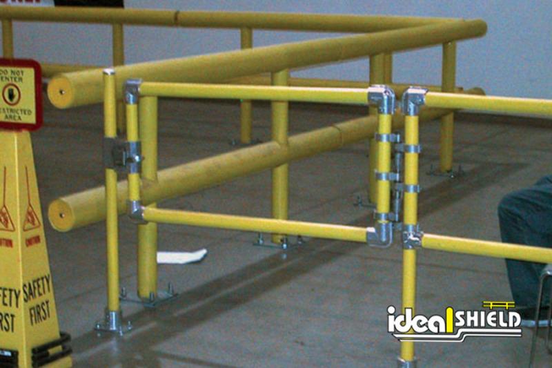 Ideal Shield's Steel Pipe & Plastic Handrail Gate alongside Standard Guardrail