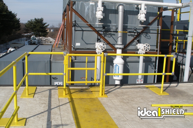 Ideal Shield's Roof Fall Protection Railing with swinging gate and base plates