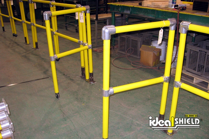 Ideal Shield's Steel Pipe & Plastic Industrial Handrail with Swinging Gates