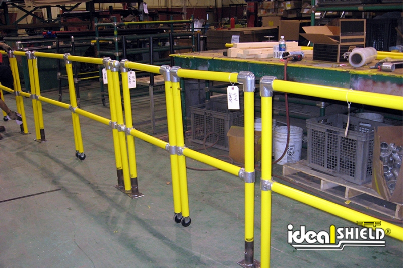 Ideal Shield's Steel Pipe & Plastic Industrial Handrail with closed Swinging Gates
