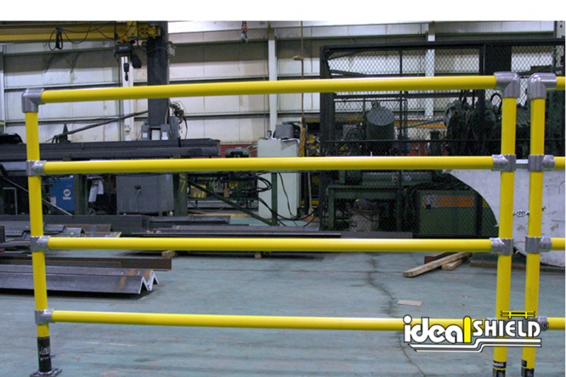 Ideal Shield's custom designed four-line Steel Pipe & Plastic Handrail