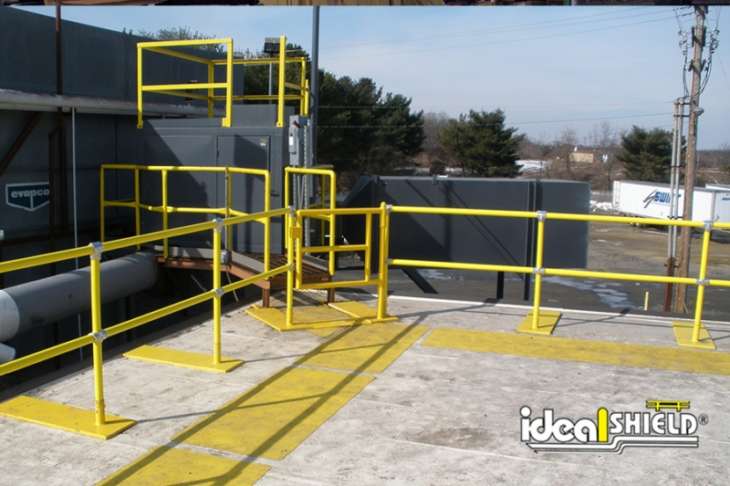 Ideal Shield's Roof Fall Protection Railing with swinging gate