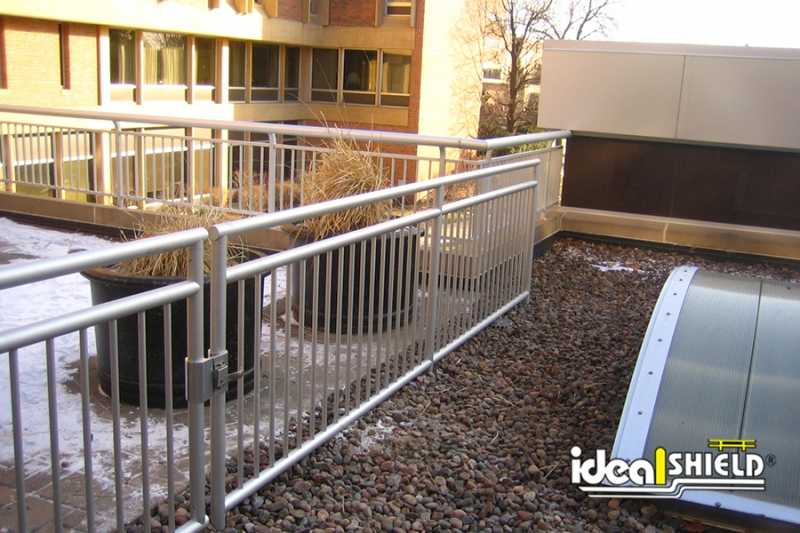 Ideal Shield's Aluminum Handrail with infill for rooftop protection