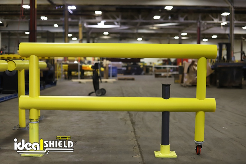 Ideal Shield's Standard Industrial Guardrail with Wheeled Gate and Locking Steel Pin