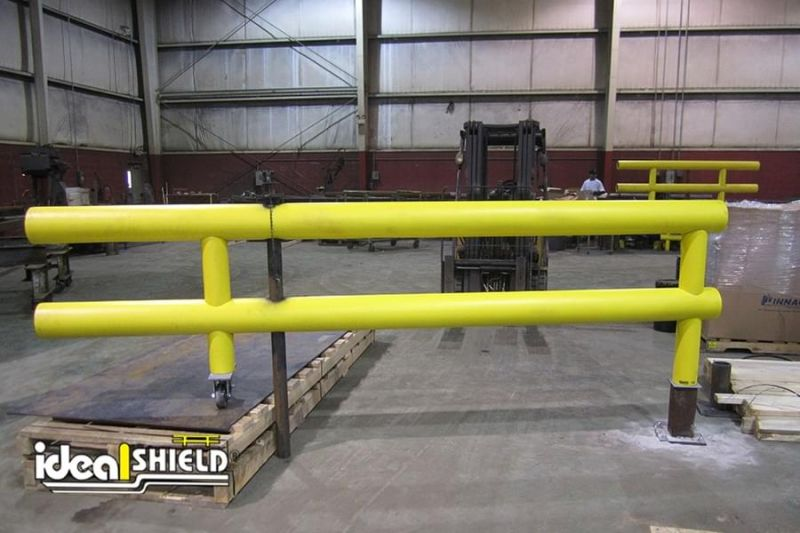 Ideal Shield's Wheeled Heavy Duty Guardrail Gate showing core-in swivel plate with lifted gate