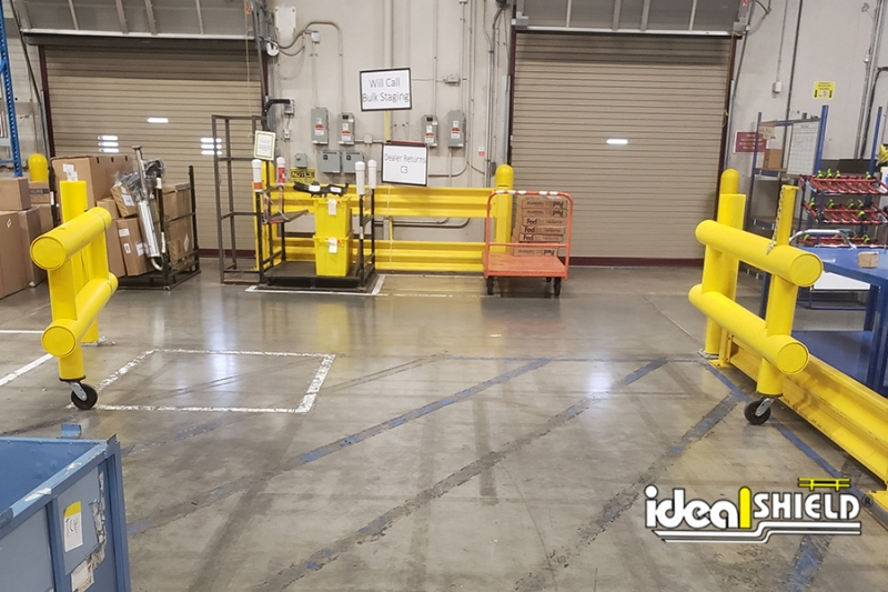 Ideal Shield's Double Swing Guardrail Gates opened for forklift access