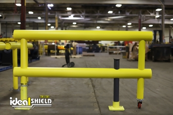 Standard Industrial Guardrail with wheeled gate and locking steel pin