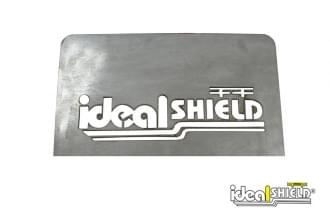 Custom cut handrail infill panel with Ideal Shield logo