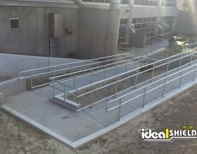 Ideal Shield Aluminum Handrail Along Handicap Ramp