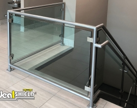 Ideal Shield's Aluminum Handrail with glass infill