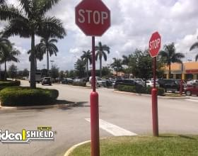 Traffic Stop Signs With Red Bollard Sign System