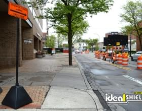 Ideal Shield's black Sign Bases used at a construction site