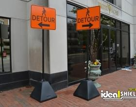 Ideal Shield's black Sign Bases used as Detour Signs at a construction site