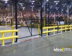 Two Line Standard Guardrail Protecting Warehouse Enclosure