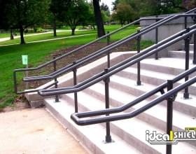 Ideal Shield's Steel Handrail used on the steps of a Building Entrance