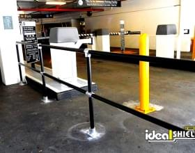Steel Pipe And Plastic Handrail In Black At Parking Facility
