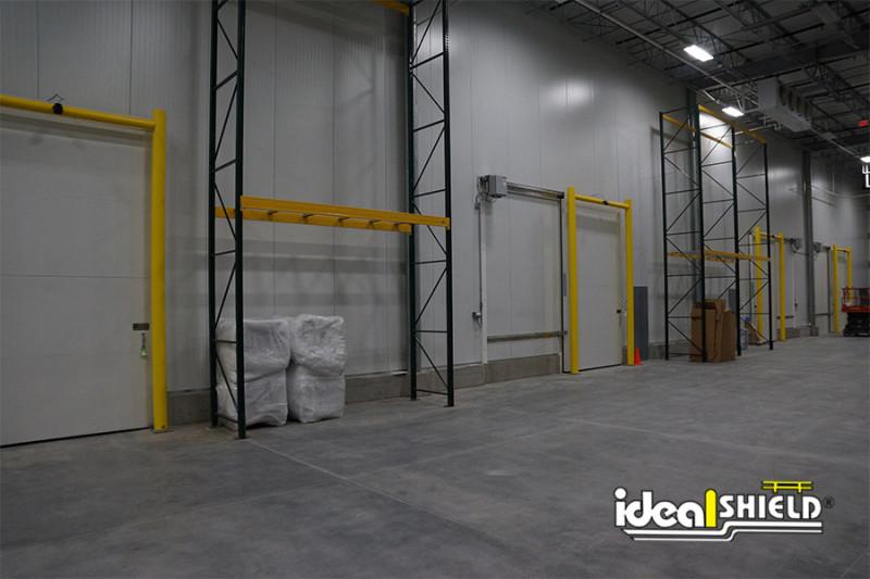 Ideal Shield's Falcon Sensor Goal Post Guardrails in a cold storage facility