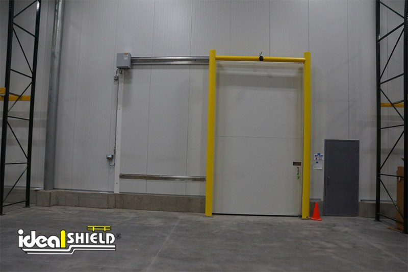 Ideal Shield's Falcon Sensor Goal Post Guardrail  used for a side slide facility door