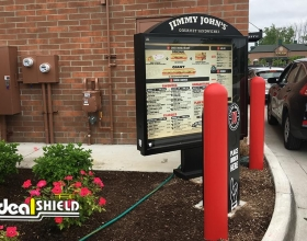 Ideal Shield's Bollard Covers used for drive-thru protection at Jimmy John's