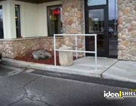 Restaurant Exit Protected By Aluminum Handrail