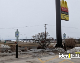 Ideal Shield's Bollard Sign Systems used at McDonald's