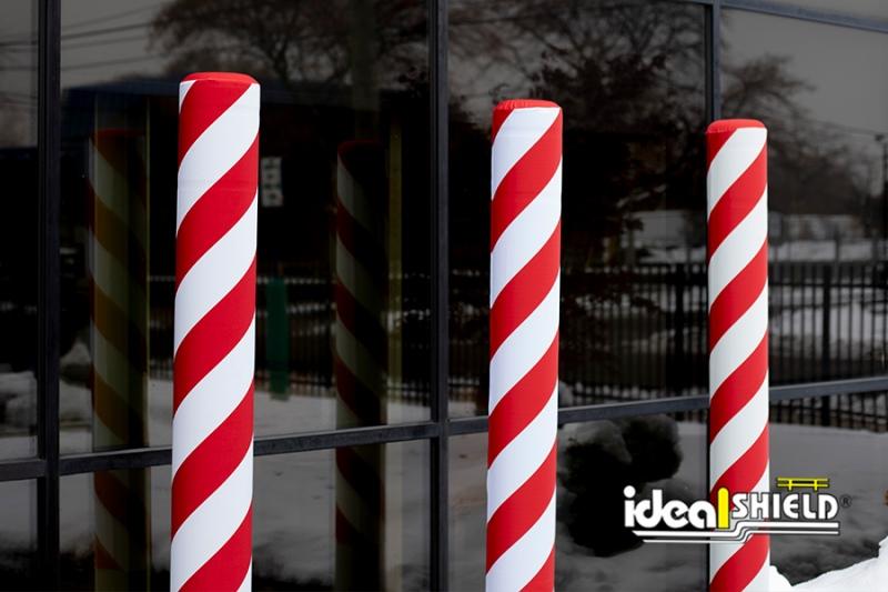 Ideal Shield's Candy Cane Fabric Bollard Cover AdShields on Flat Top Bollard Covers